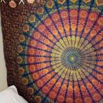 Blue & Yellow Hippie Medallion Mandala Boho Tapestry Wall Hanging