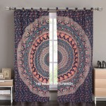 Blue King Procession Medallion Circle Tapestry Curtain Panel Pair