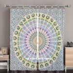 White & Yellow Peacock Mandala Tapestry Curtain Panel Pair 84 Inch