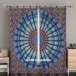 Blue Multi Indie Boho 84 Inch Mandala Curtain Panel Pair
