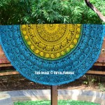 Turquoise & Yellow Elephant Mandala String Beach Throw Roundie