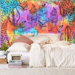 Colorful Multi Summer Feathers Cotton Wall Tapestry