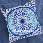 Decorative Blue Bohemian Throw Pillow Case 16X16 Inch