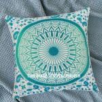 Sea Green Medallion Mandala Cotton Throw Pillow Case 16X16