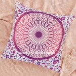 Purple and Pink Medallion Mandala Throw Pillow Cover