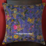 "16"" Inch Blue Bird Paradise Kantha Throw Pillow Cushion Cover"