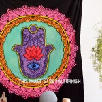 Twin Colorful Hamsa Fatima Hand Mandala Wall Tapestry Yoga Wall Hanging