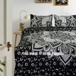 Black & Silver Passion Mandala Duvet Covers with Set of 2 Pillow Covers