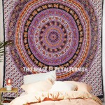 Purple & Black Bohemian Elephant Mandala Wall Tapestry