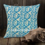 "24"" Big Turquoise Indian Decorative Ikat Kantha Throw Pillow Cover"