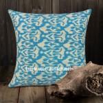 "24"" Big Turquoise Indian Decorative Ikat Kantha Throw Pillow Cover"