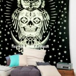Black Tattoo Design Key Owl Sitting on The Moon Brooch Skull Wall Tapestry