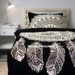 Twin Black & White Dream Catcher Mandala Duvet Cover with One Pillow Sham