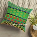 Unique Colorful Green Boho Accent Silk Square Pillow Cover 16X16 Inch