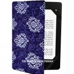 Blue Spiral Flower Printed Kindle Paperwhite Cover for All 2012, 2013, 2015 and 2016 Versions