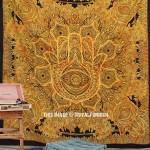 Yellow Large Sketched Boho Hand Hamsa Tapestry Wall Hanging