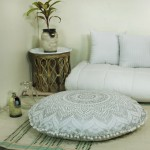 Sparkly Silver Classic Ombre Mandala Round Floor Pillow Cover