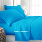Turquoise Hypoallergenic 4Pc Cotton Bed Sheet Set 1 Flat Sheet, 1 Fitted Sheet and 2 Pillowcases 300 TC