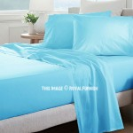 Baby Blue Hypoallergenic 4Pc Cotton Bed Sheet Set 1 Flat Sheet, 1 Fitted Sheet and 2 Pillowcases