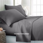 Grey Hypoallergenic 4Pc Cotton Bed Sheet Set 1 Flat Sheet, 1 Fitted Sheet and 2 Pillowcases