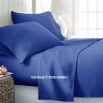 Royal Blue 4Pc Cotton Bed Sheet Set 1 Flat Sheet, 1 Fitted Sheet and 2 Pillowcases 300TC