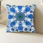 Blue Boho Chic Mandala Throw Pillow Cover 16X16 Inch