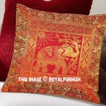 "16"" Red Multi Asian Elephant Tree Indian Silk Brocade Toss Pillow Cover"