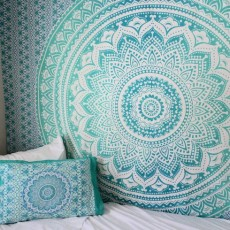 Sea Green Multi Ombre Tapestry Indian Mandala Bedding Throw