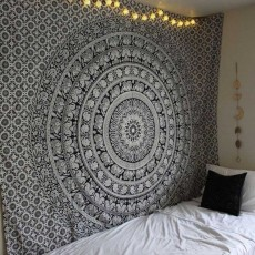 Black And White Floral Hippie Elephant Mandala Tapestry
