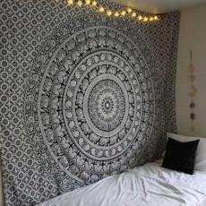 Black And White Fl Hippie Elephant Mandala Tapestry