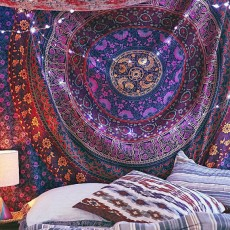 Purple Plum U0026 Bow Medallion Mandala Hippie Tapestry Bohemian Wall Hanging Part 71