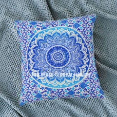 blue decorative ombre mandala throw pillow cover