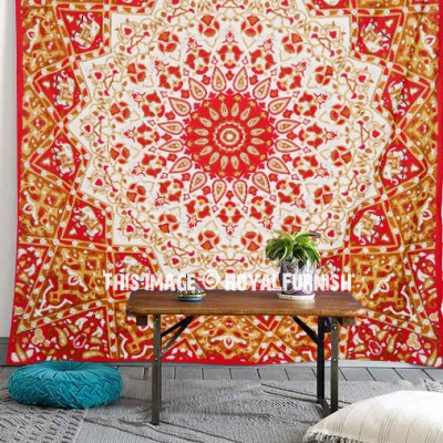 Red White Indian Mandala Star Dorm Decor Wall Tapestry
