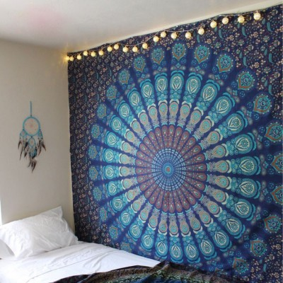 How To Hang A Tapestry On The Wall hippie mandala tapestry indian blue floral psychedelic medallion