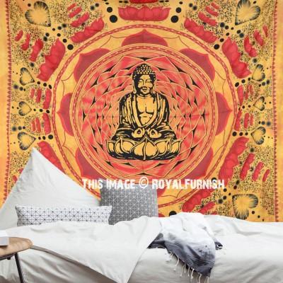 Buddha Tapestry Wall Hangings brown buddha cotton screen printed tapestry & wall hanging