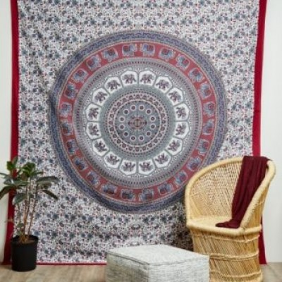 Elephant Wall Hanging white red indian elephant mandala hippie tapestry bed cover wall