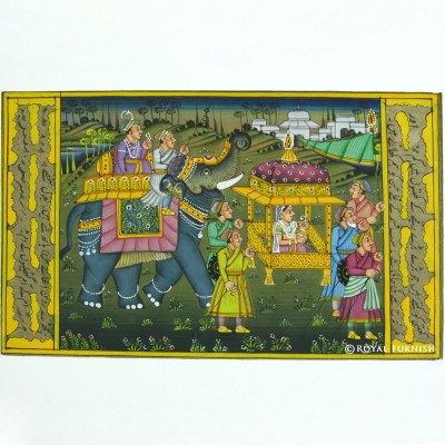 Rajasthani traditional mughal procession miniature painting wall indian decor art Home decor paintings for sale india