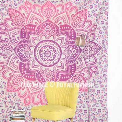 Pink Wall Tapestry pink geometric flower circle mandala wall tapestry - royalfurnish