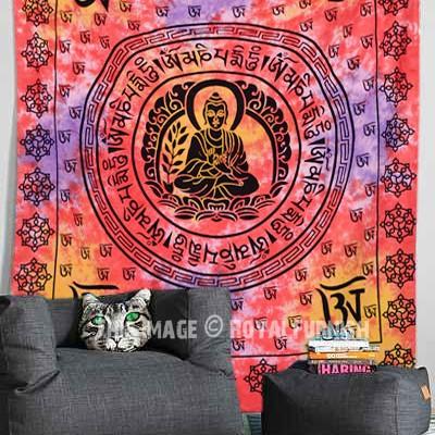 Buddha Tapestry Wall Hangings red om buddha sitting on lotus tapestry, tie dye meditation