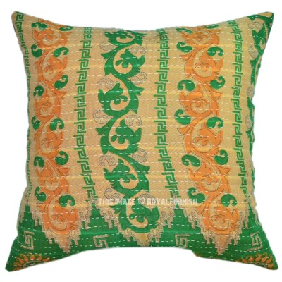 40x40 Multicolor Traditional Vintage Kantha Quilted Pillow ...