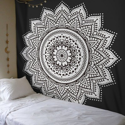 Black Amp White Rangoli Mandala Wall Tapestry Royalfurnish Com