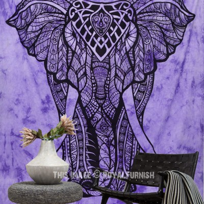 Elephant Tapestry Wall Hanging purple tie dye valentina harper ruby the asian elephant tapestry