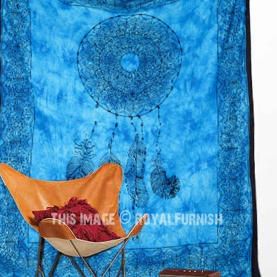 blue tie dye dream catcher cotton tapestry. Black Bedroom Furniture Sets. Home Design Ideas