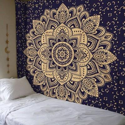 blue u0026 gold passion ombre boho mandala tapestry wall hanging
