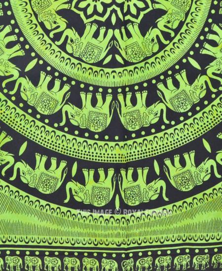Big Green Elephant Mandala Wall Tapestry Tie Dye Fringed