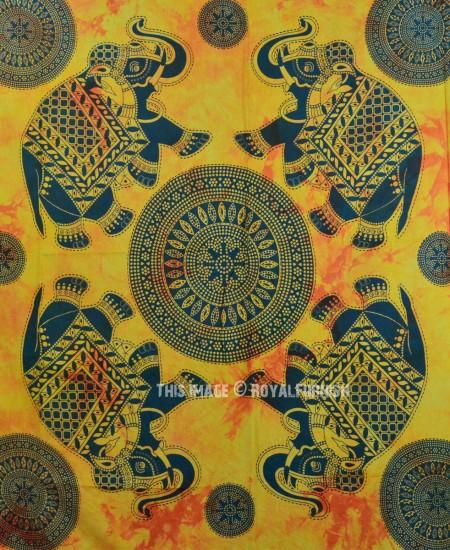 Yellow Multi Four Elephant Mandala Fringed Tapestry