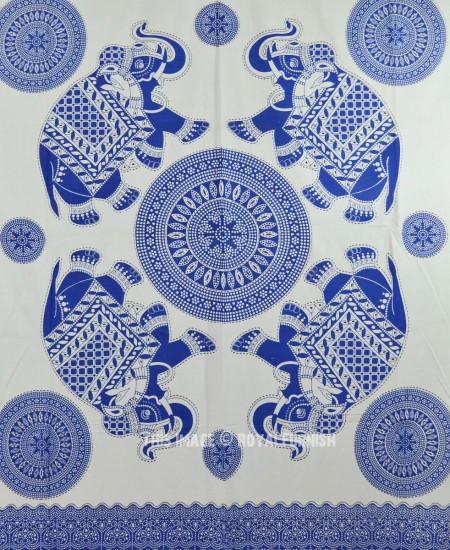Blue And White Four Elephant Mandala Wall Tapestry Fringed