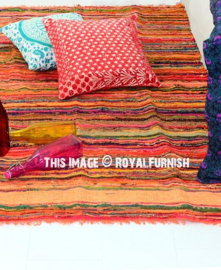Orange India Hand Woven Recycled Fabric Chindi Area Rug 3