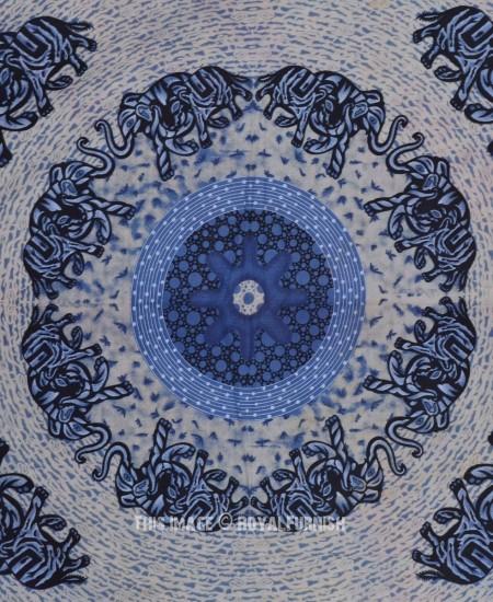 Big Blue Indian Elephant Ring Pattern Hippie Mandala