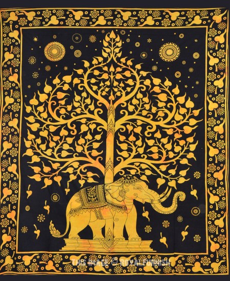 Black And Gold Elephant And Tree Wall Tapestry Bedding